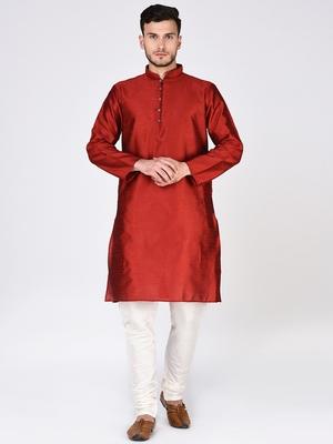 Red Plain Silk Blend Kurta Pajama