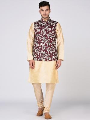 Gold Printed Silk Blend Kurta Pajama