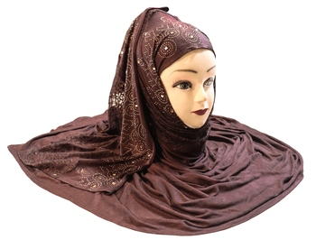 Coffee Embroidered Cotton Hijab