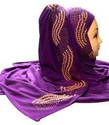 Purple embroidered cotton hijab