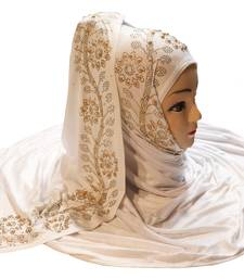 White embroidered cotton hijab