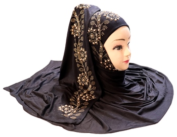 Black Embroidered Cotton Hijab