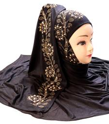 Black Embroidered Cotton Hijab