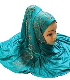 Cyan Embroidered Cotton Hijab