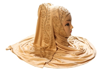 Beige Embroidered Cotton Hijab