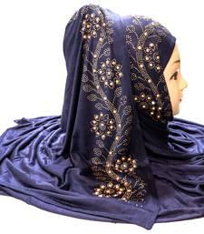 Dark-Blue Embroidered Cotton Hijab