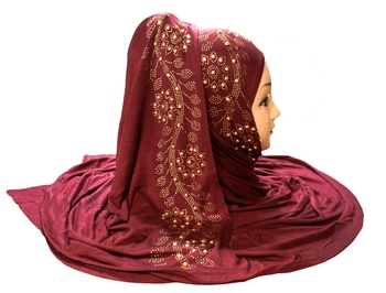 Maroon embroidered cotton hijab