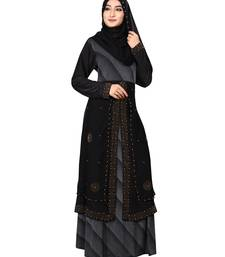 Grey embroidered lycra burka