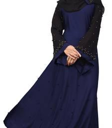 Dark blue embroidered lycra burka