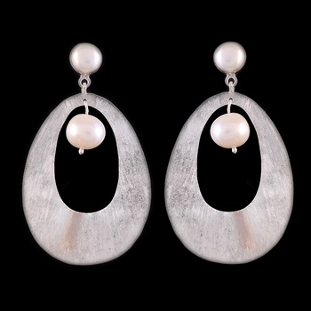 12.29 Gms Silver With A Pearl Drop Earrings