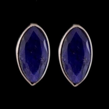 4.25 Gms Silver With Purple Onyx Simple Earrings