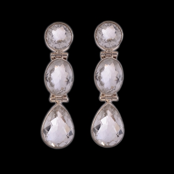 15.42 Gms Silver With Crystal Designer Earrings