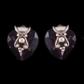 Simple Silver Purple Designer Earrings