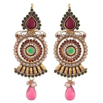 Golden Kundan And Onyx Exquisite Earrings