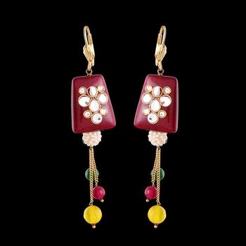 Onyx And Kundan Designer Earrings