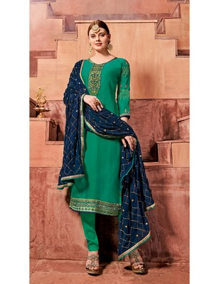 Green Embroidered Santoon Semi Stitched Salwar With Dupatta