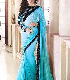 Buy Firozi  Plain  Georgette designer saree with blouse wedding-saree online