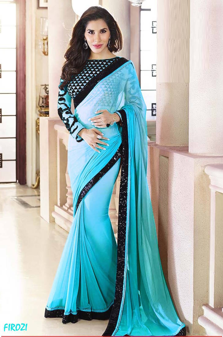 Buy Firozi Plain Georgette Designer Saree With Blouse Online