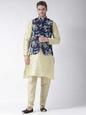 Gold Plain Polyester Kurta Pajama