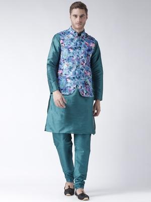 Turquoise Plain Polyester Kurta Pajama