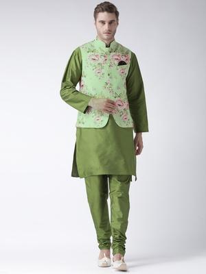 Green Plain Polyester Kurta Pajama