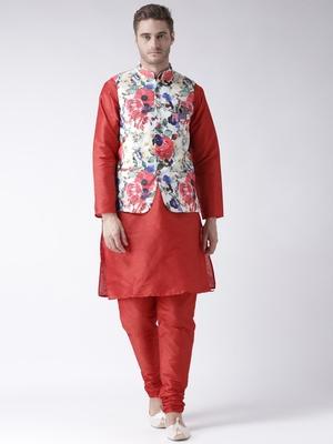 Red Plain Polyester Kurta Pajama