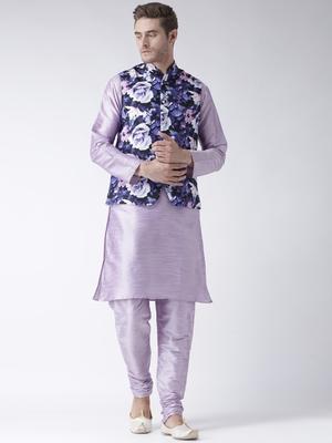 Purple Plain Polyester Kurta Pajama