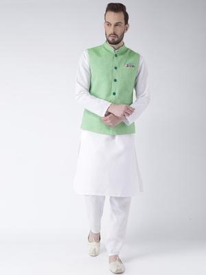 Green Plain Cotton Kurta Pajama