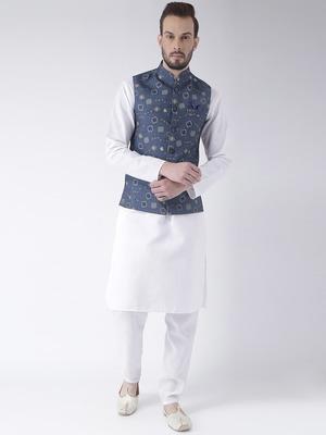 Blue Printed Cotton Kurta Pajama