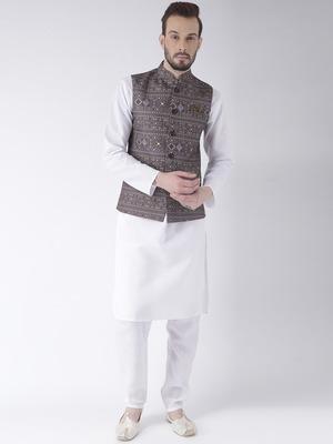 Brown Printed Cotton Kurta Pajama