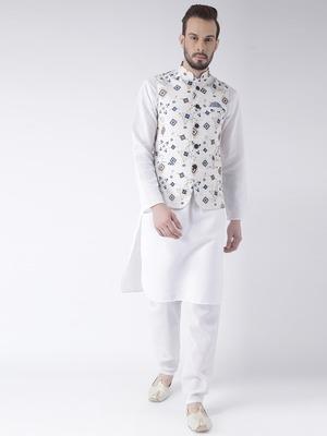 White Printed Cotton Kurta Pajama