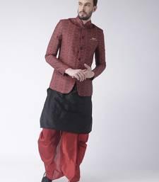 Black printed dupion silk dhoti kurta