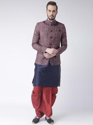 Blue printed dupion silk dhoti kurta