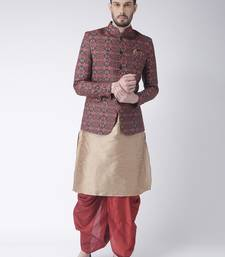 Beige Printed Dupion Silk Dhoti Kurta