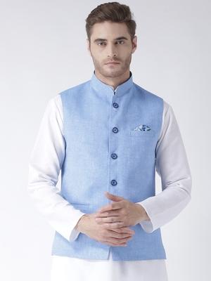 Blue Plain Linen Nehru Jacket