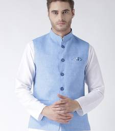 Blue Plain Linen Nehru Jacket