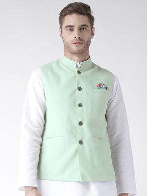 Green Plain Linen Nehru Jacket