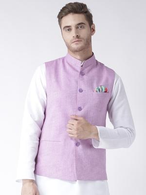 Purple Plain Linen Nehru Jacket