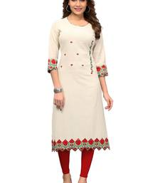 Off-white embroidered cotton kurti