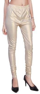 Beige Gold Color Ankle Length Plain Leggings