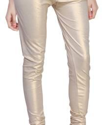 Beige Gold Color Ankle Length Plain Leggings