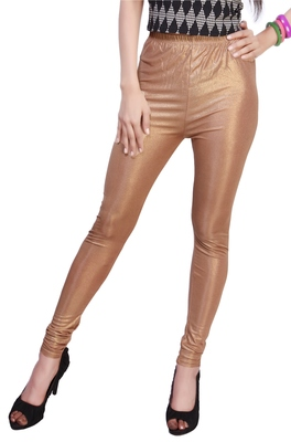 Brown Gold Color Ankle Length Plain Leggings
