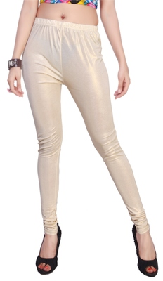 Cream Gold Color Ankle Length Plain Leggings