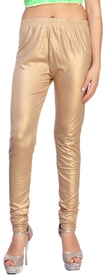 Dark Gold Color Ankle Length Plain Leggings