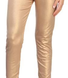 Dark Gold Color Ankle Length Plain Leggings