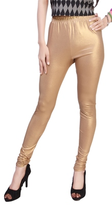 Gold Color Ankle Length Plain Leggings