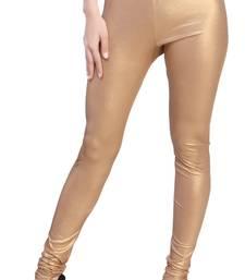 Gold Color Ankle Length Plain Leggings