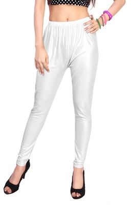 White Gold Color Ankle Length Plain Leggings