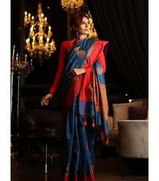 Blue Shade Maheshwari Cotton Banarasi Handwoven Saree with Blouse