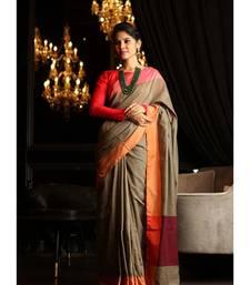 Brown Shade Khadi Cotton Handwoven Saree